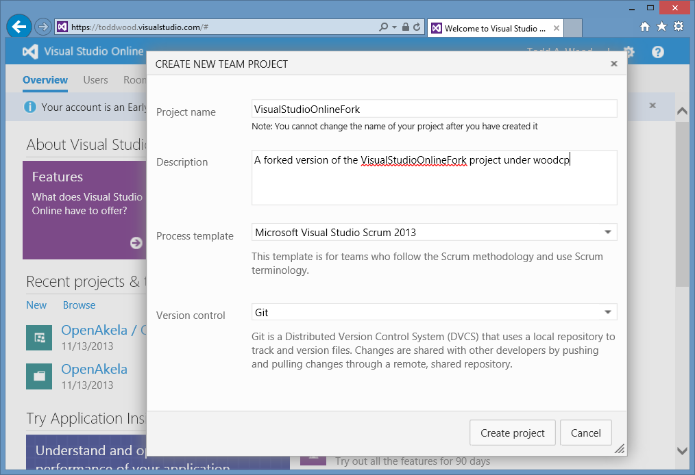 How-To Fork Git Repositories on Visual Studio Online
